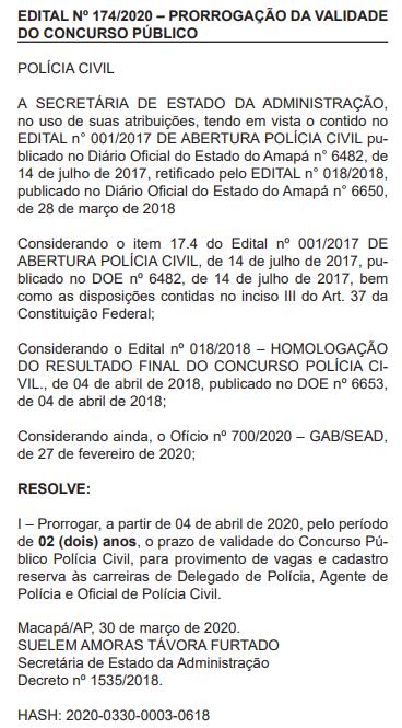 Concurso Polícia Civil Amapá: Prorrogado