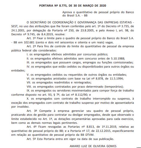 Banco do Brasil: quantitativo de pessoal