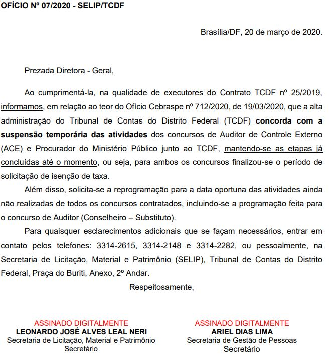 Imagem contendo a informação de que o TCDF concorda com a suspensão temporária das atividades dos concursos de Auditor de Controle Externo e Procurador do Ministério Público junto ao TCDF.