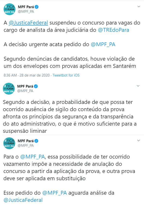 Concurso TRE Pará - Suspenso