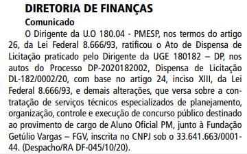 Concurso PM SP Oficial: Banca definida