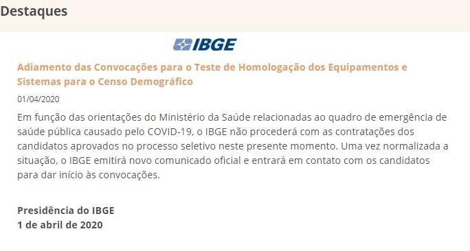 Concurso IBGE: nota sobre convocações de seleção.
