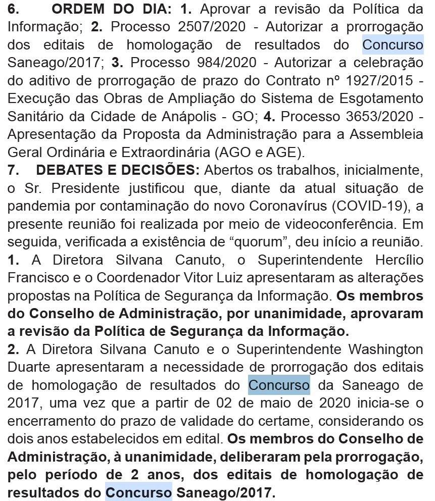 Concurso Saneago: validade prorrogada até 2022.