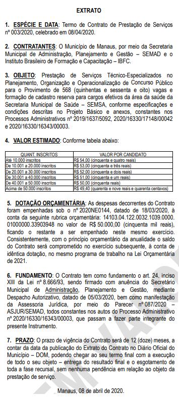 Concurso SEMSA Manaus AM