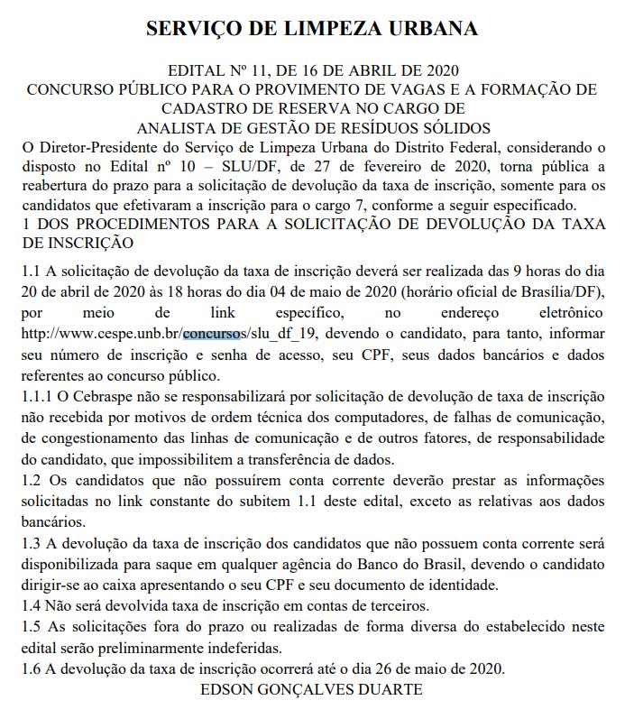 Concurso SLU DF: novo período para solicitação de reembolso.