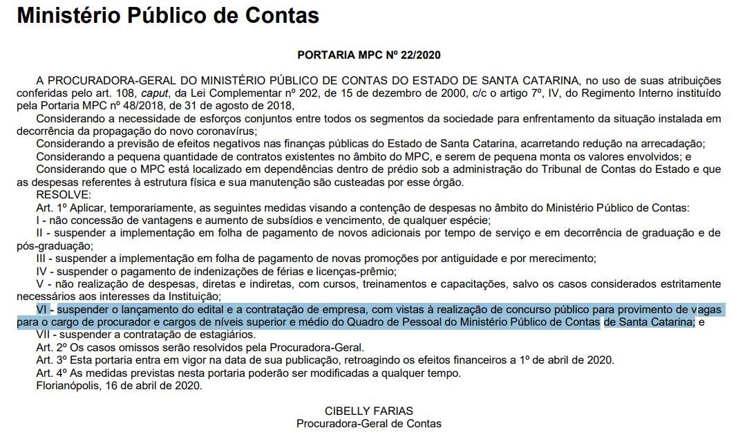 Portaria publicada no Diário do TCE SC suspendendo os trâmites de realização do concurso MPC SC.