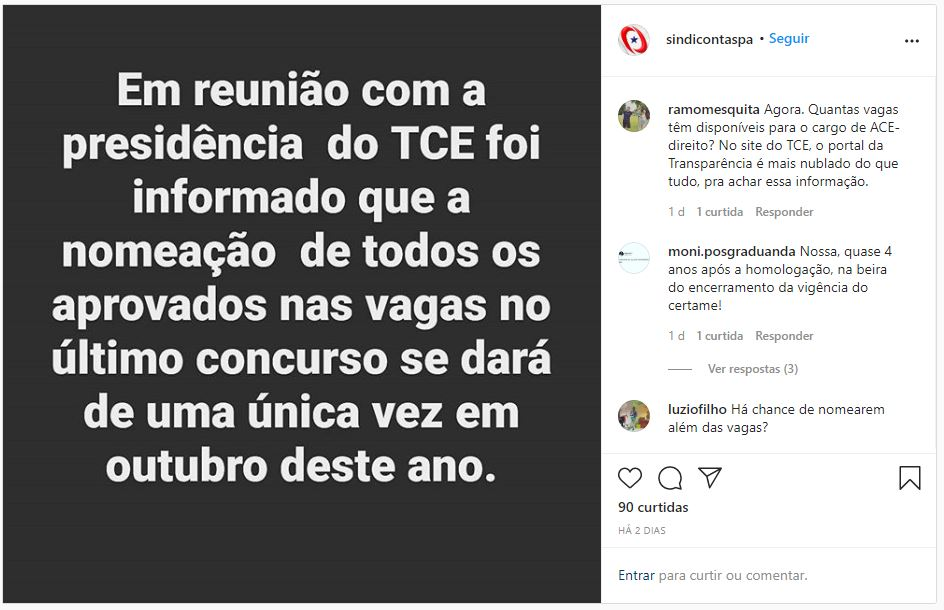 Concurso TCE PA: Sindicontas do Pará informa que as nomeações do concurso TCE PA ocorrerão em outubro de 2020