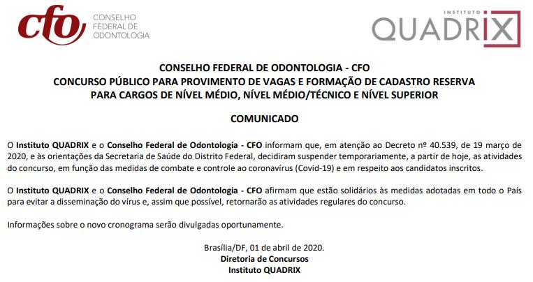 Concurso CFO: Comunicado
