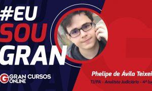 Phelipe Teixeira aprovado como Analista Judiciário no concurso TJ PA