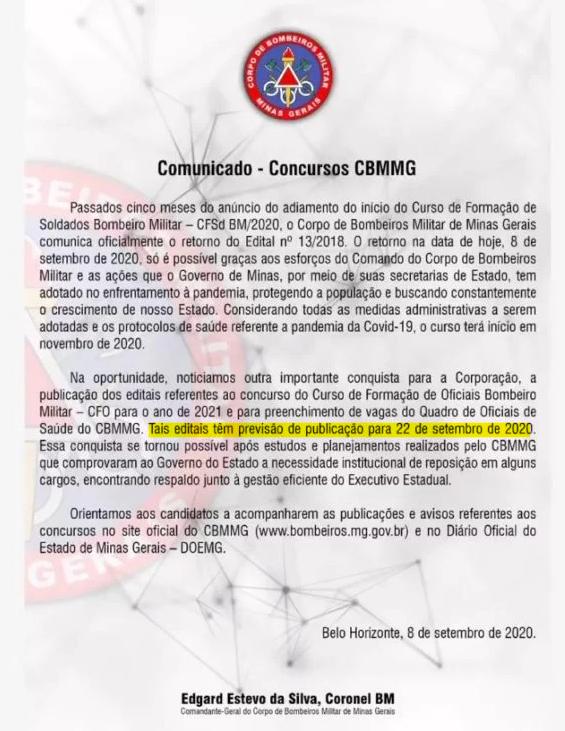 concurso cbm mg - publicacao dos editais
