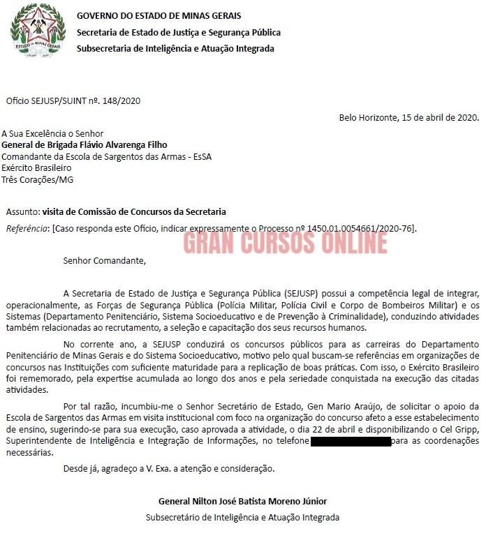 concurso policia penal mg - pedido para o exercito
