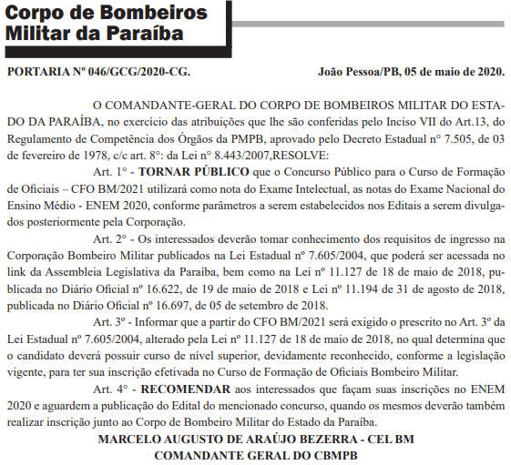 Concurso Bombeiro PB: novas recomendações para a seleção.
