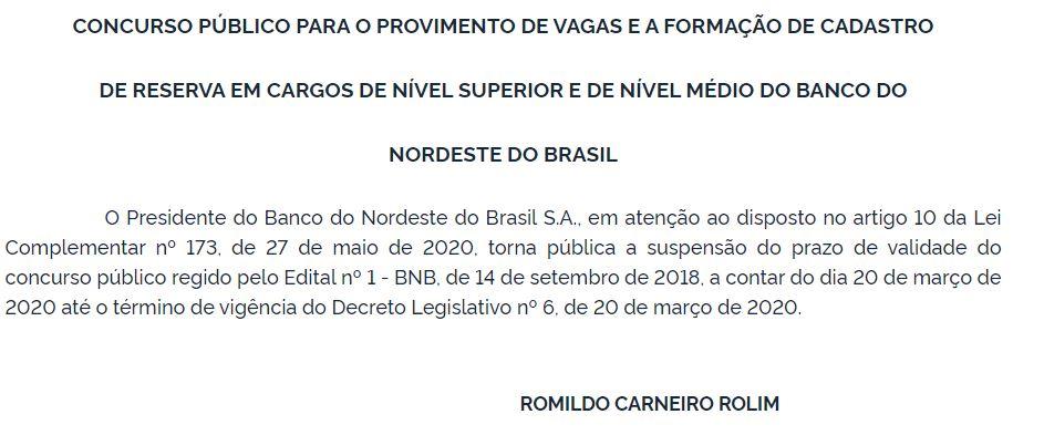 Concurso BNB: prazo de validade suspenso