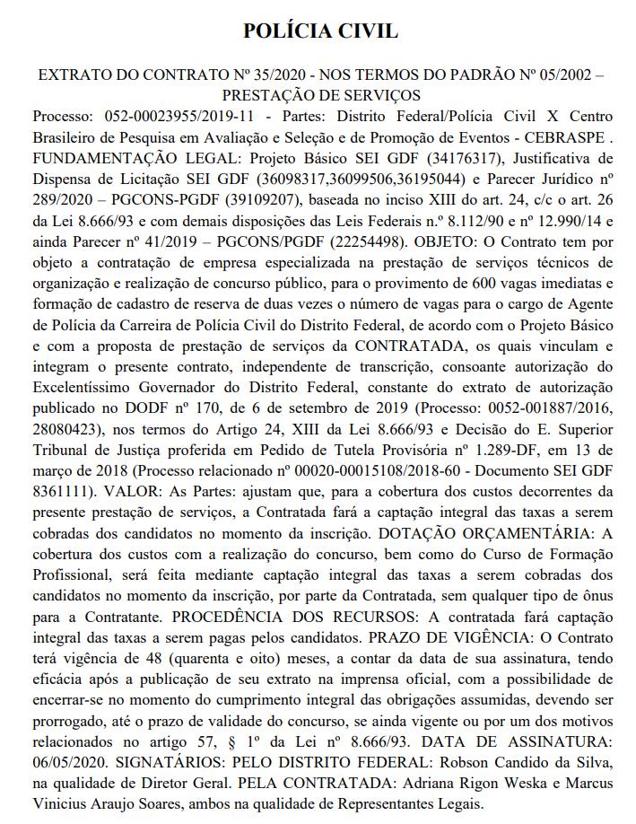 Extrato de contrato entre PCDF e Cebraspe