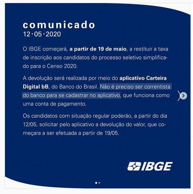 concurso ibge - comunicado sobre as taxas
