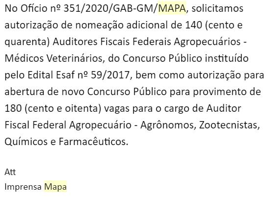 Concurso MAPA: resposta da Assessoria!
