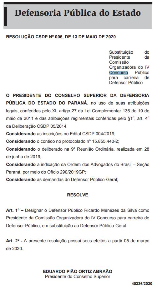 Concurso DPE PR Defensor: alteração na Comissão!