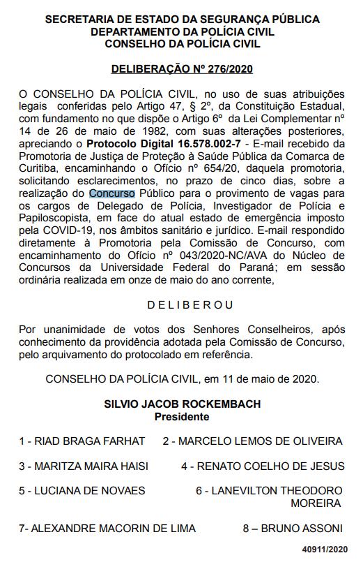 Concurso PCPR: Coronavírus