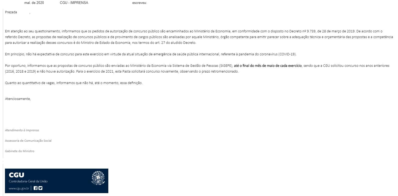 Concurso CGU: Novo pedido de certame ao Ministério da Economia
