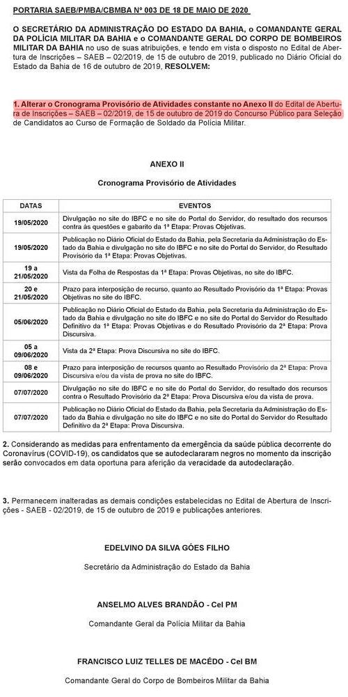 Concurso PM BA: Cronograma certame Polícia Militar da Bahia