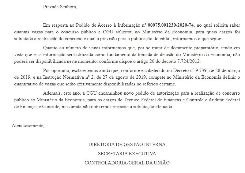 Concurso CGU: quantidade de vagas que serão disponibiliadas em novo certame será definida pelo Ministério da Economia.