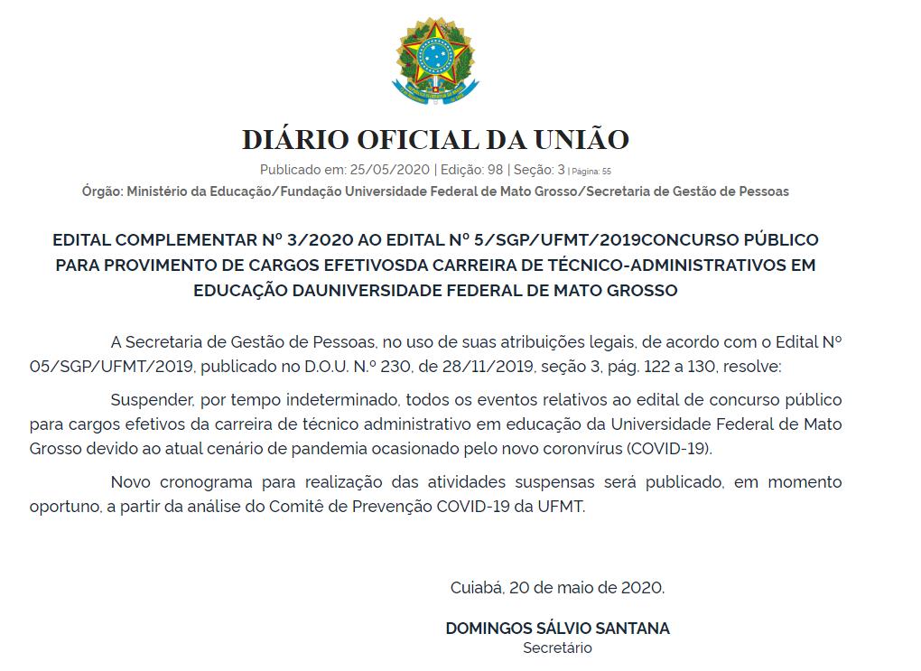 Concurso UFMT: comissão anuncia suspensão do certame.