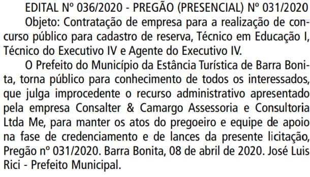 Concurso Prefeitura de Barra Bonita SP: Banca definida. VEJA!