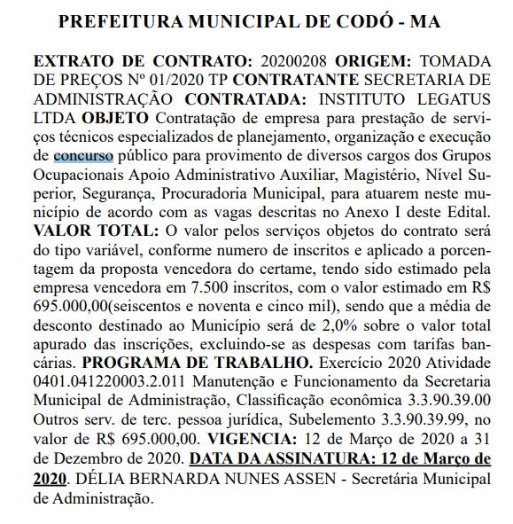 banca do Concurso Prefeitura de Codó MA