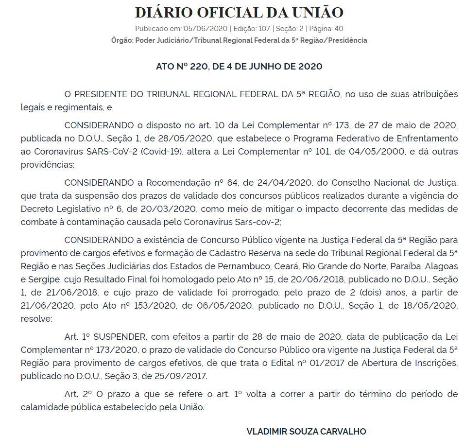 Documento informando que o prazo de validade do concurso TRF 5 realizado em 2017 está suspenso