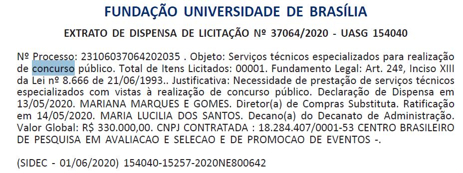 Concurso UnB (FUB): banca contratada.