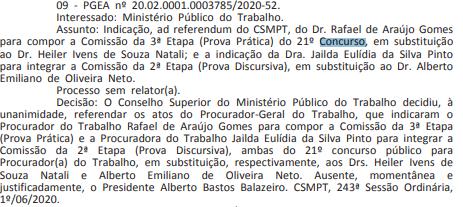 Extrato de alteração das comissões do Concurso MPT
