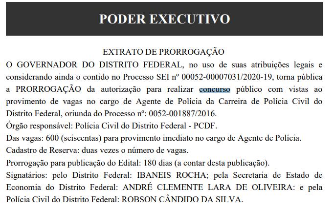 Concurso PCDF Agente: extrato de prorrogação!