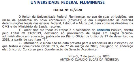 Concurso UFF: suspenso!