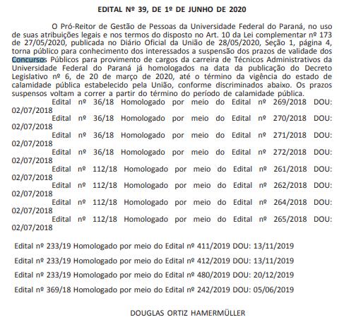 Documento contendo a informação de que os prazos de validades dos concursos UFPR estão suspensos.
