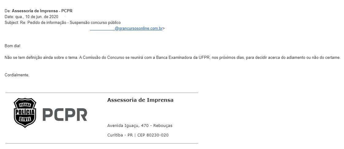 Concurso PC PR: PCPR não confirma suspensão do certame!