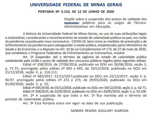 Concurso UFMG: suspensa validade.