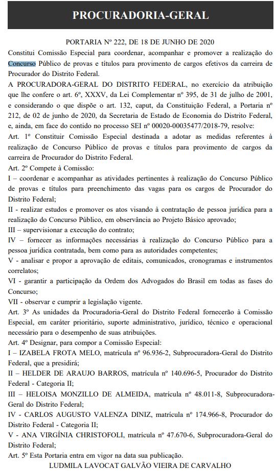 Concurso PGDF Procurador: comissão formada!