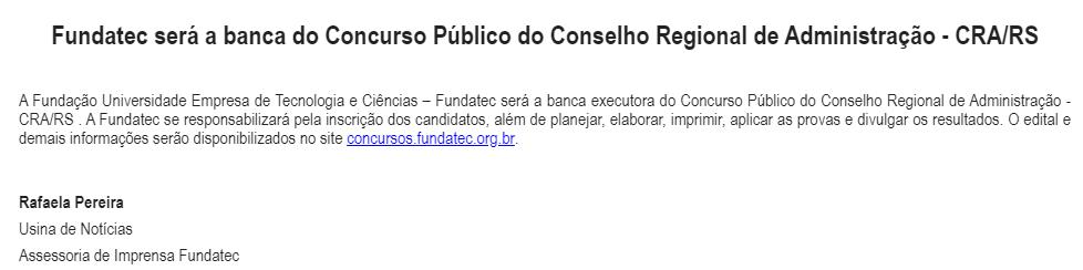 CONCURSO CRA RS