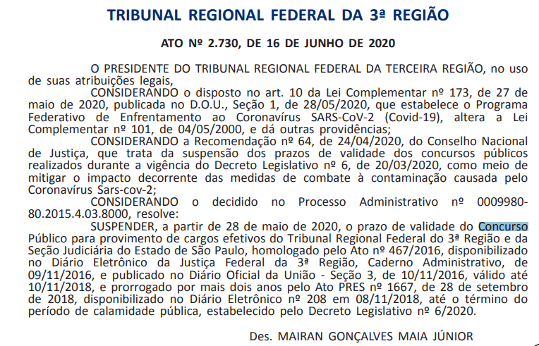 Concurso TRF 3 2015: validade suspensa.