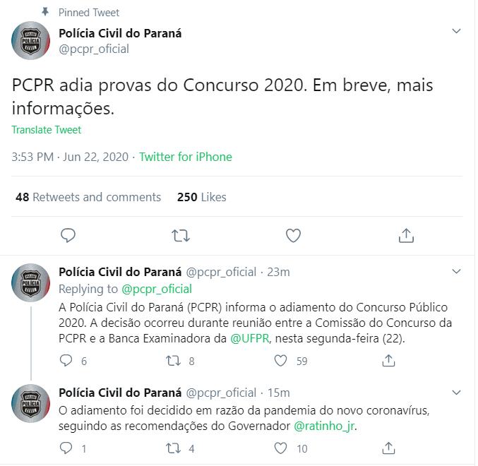 Concurso PC PR: Provas PCPR adiadas! 400 vagas para Polícia Civil!