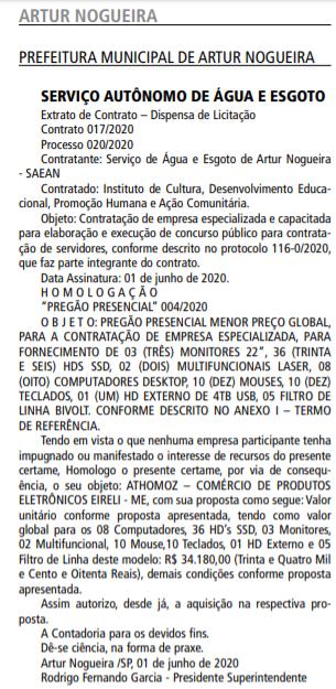 Concurso Prefeitura de Artur Nogueira SP: Banca definida. VEJA!