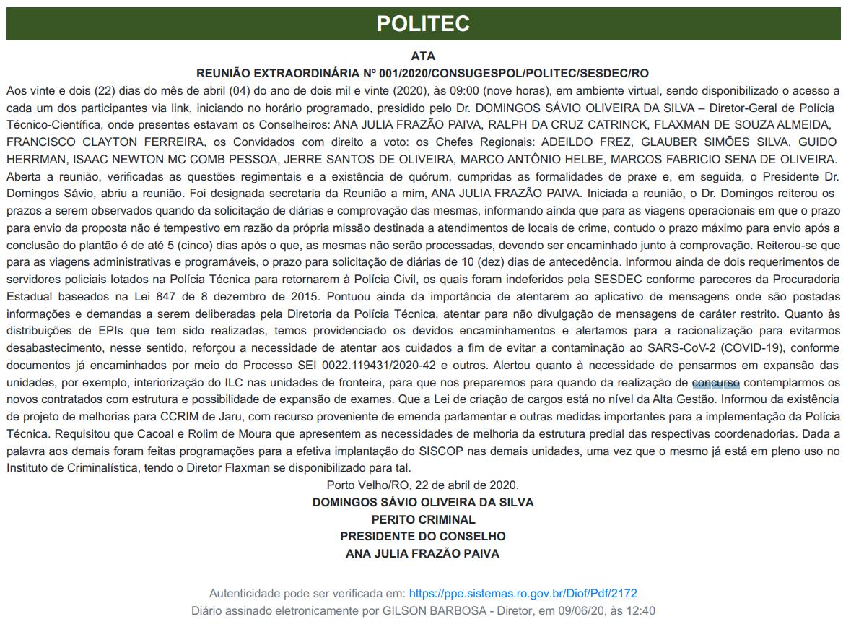 Concurso Politec RO: Ata da reunião!