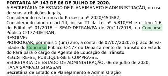 Concurso Detran PA: vigência prorrogada até julho de 2021.