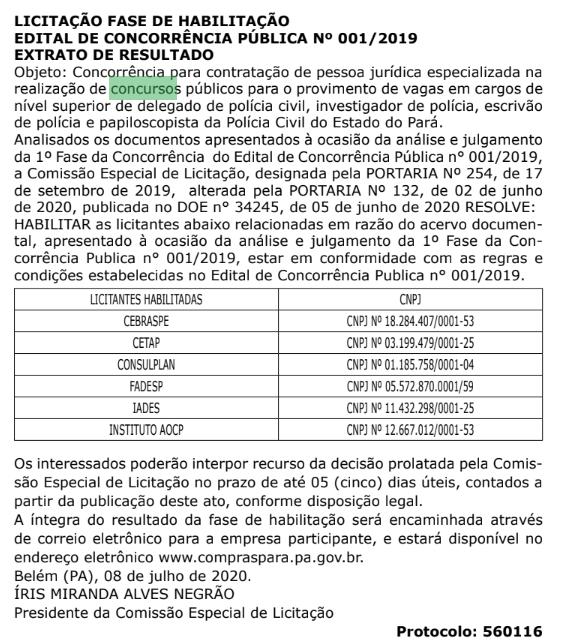 Concurso PC PA: banca em definição!