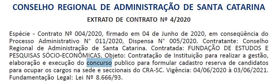 Concurso CRA SC: banca definida.