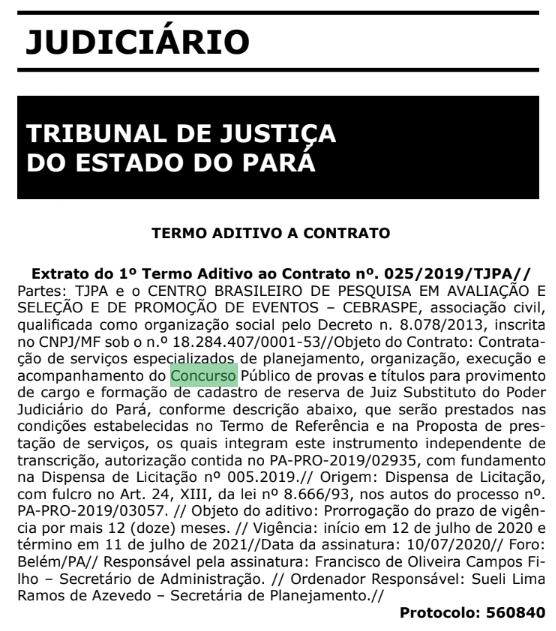 Concurso TJ PA Juiz: prorrogado contrato com Cebraspe!