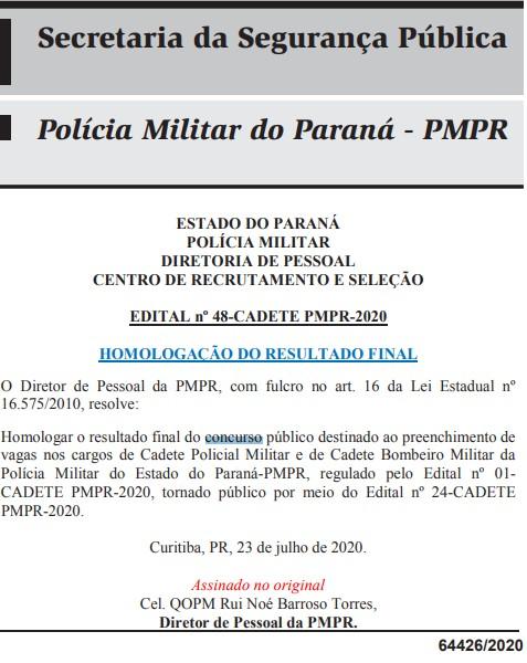 Concurso CBM e PM PR CFO: homologação.