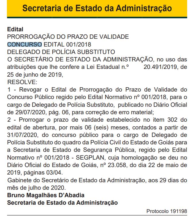 Concurso PC GO Delegado: validade prorrogada a partir de julho de 2020.