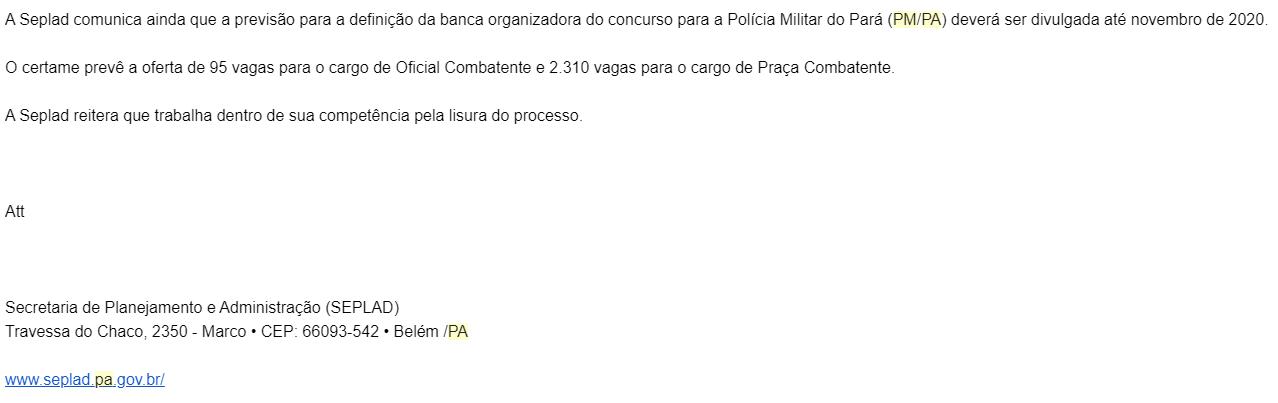 Concurso PM PA: banca será divulgada até novembro!