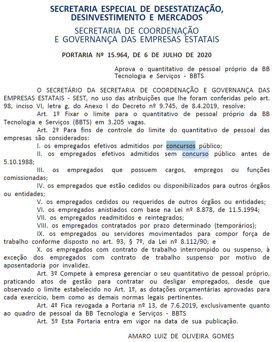 Concurso Banco do Brasil BBTS: portaria!